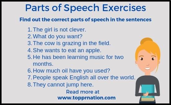Parts of Speech Exercises : English Grammar